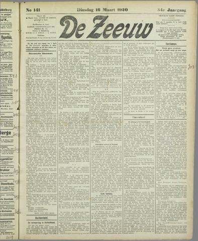 De Zeeuw. Christelijk-historisch nieuwsblad voor Zeeland 1920-03-16