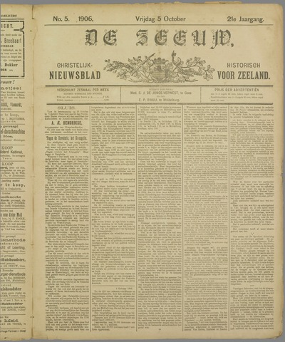 De Zeeuw. Christelijk-historisch nieuwsblad voor Zeeland 1906-10-05