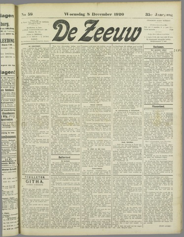 De Zeeuw. Christelijk-historisch nieuwsblad voor Zeeland 1920-12-08