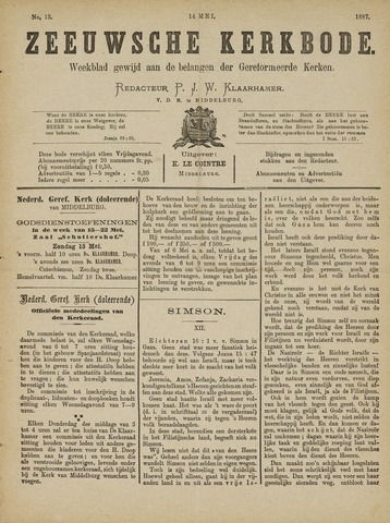 Zeeuwsche kerkbode, weekblad gewijd aan de belangen der gereformeerde kerken/ Zeeuwsch kerkblad 1887-05-14