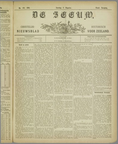 De Zeeuw. Christelijk-historisch nieuwsblad voor Zeeland 1896-08-08