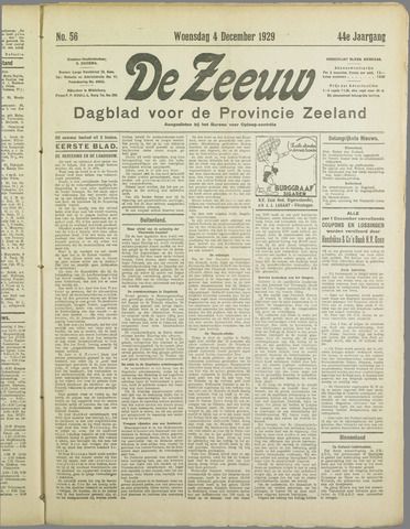 De Zeeuw. Christelijk-historisch nieuwsblad voor Zeeland 1929-12-04