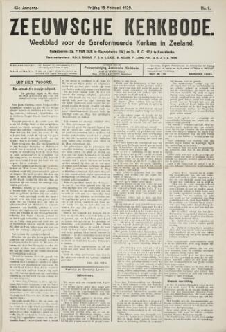 Zeeuwsche kerkbode, weekblad gewijd aan de belangen der gereformeerde kerken/ Zeeuwsch kerkblad 1929-02-15