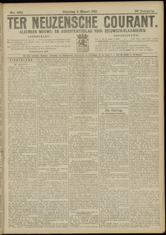 Ter Neuzensche Courant. Algemeen Nieuws- en Advertentieblad voor Zeeuwsch-Vlaanderen / Neuzensche Courant ... (idem) / (Algemeen) nieuws en advertentieblad voor Zeeuwsch-Vlaanderen 1915-03-02