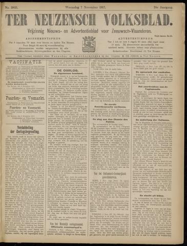 Ter Neuzensch Volksblad. Vrijzinnig nieuws- en advertentieblad voor Zeeuwsch- Vlaanderen / Zeeuwsch Nieuwsblad. Nieuws- en advertentieblad voor Zeeland 1917-11-07