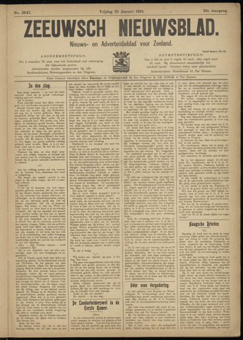 Ter Neuzensch Volksblad. Vrijzinnig nieuws- en advertentieblad voor Zeeuwsch- Vlaanderen / Zeeuwsch Nieuwsblad. Nieuws- en advertentieblad voor Zeeland 1918-01-25