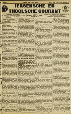 Ierseksche en Thoolsche Courant 1926-04-30