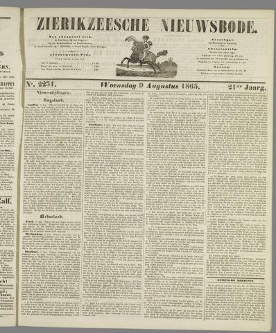 Zierikzeesche Nieuwsbode 1865-08-09