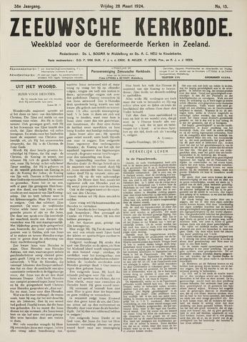 Zeeuwsche kerkbode, weekblad gewijd aan de belangen der gereformeerde kerken/ Zeeuwsch kerkblad 1924-03-28