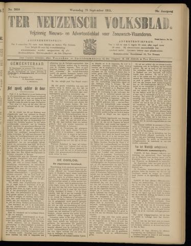 Ter Neuzensch Volksblad. Vrijzinnig nieuws- en advertentieblad voor Zeeuwsch- Vlaanderen / Zeeuwsch Nieuwsblad. Nieuws- en advertentieblad voor Zeeland 1915-09-29