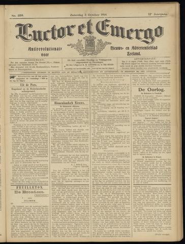 Luctor et Emergo. Antirevolutionair nieuws- en advertentieblad voor Zeeland / Zeeuwsch-Vlaanderen. Orgaan ter verspreiding van de christelijke beginselen in Zeeuwsch-Vlaanderen 1914-10-03