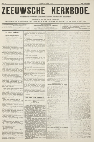 Zeeuwsche kerkbode, weekblad gewijd aan de belangen der gereformeerde kerken/ Zeeuwsch kerkblad 1939-04-28
