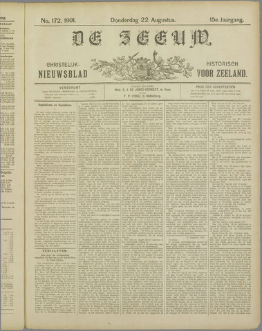 De Zeeuw. Christelijk-historisch nieuwsblad voor Zeeland 1901-08-22