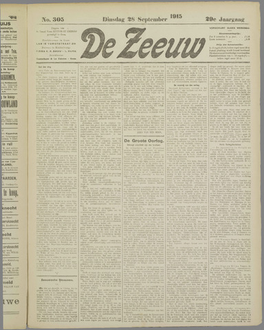 De Zeeuw. Christelijk-historisch nieuwsblad voor Zeeland 1915-09-28
