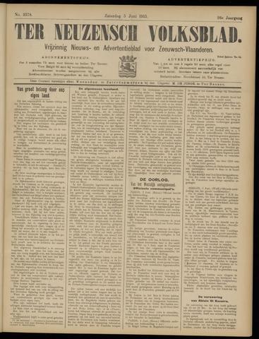 Ter Neuzensch Volksblad. Vrijzinnig nieuws- en advertentieblad voor Zeeuwsch- Vlaanderen / Zeeuwsch Nieuwsblad. Nieuws- en advertentieblad voor Zeeland 1915-06-05