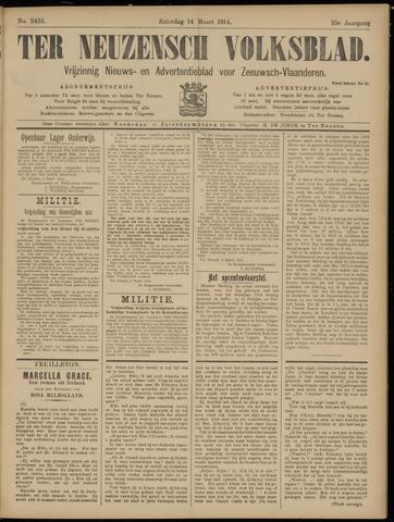 Ter Neuzensch Volksblad. Vrijzinnig nieuws- en advertentieblad voor Zeeuwsch- Vlaanderen / Zeeuwsch Nieuwsblad. Nieuws- en advertentieblad voor Zeeland 1914-03-14
