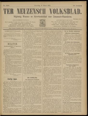 Ter Neuzensch Volksblad. Vrijzinnig nieuws- en advertentieblad voor Zeeuwsch- Vlaanderen / Zeeuwsch Nieuwsblad. Nieuws- en advertentieblad voor Zeeland 1915-03-27