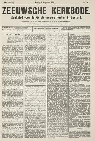 Zeeuwsche kerkbode, weekblad gewijd aan de belangen der gereformeerde kerken/ Zeeuwsch kerkblad 1925-08-21
