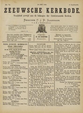 Zeeuwsche kerkbode, weekblad gewijd aan de belangen der gereformeerde kerken/ Zeeuwsch kerkblad 1888-06-23