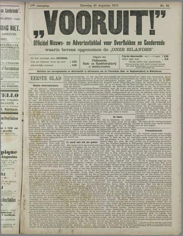 """""""Vooruit!""""Officieel Nieuws- en Advertentieblad voor Overflakkee en Goedereede 1917-08-25"""