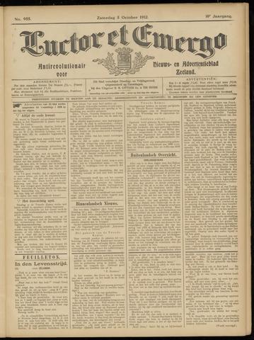 Luctor et Emergo. Antirevolutionair nieuws- en advertentieblad voor Zeeland / Zeeuwsch-Vlaanderen. Orgaan ter verspreiding van de christelijke beginselen in Zeeuwsch-Vlaanderen 1912-10-05