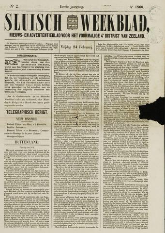 Sluisch Weekblad. Nieuws- en advertentieblad voor Westelijk Zeeuwsch-Vlaanderen 1860
