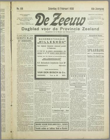 De Zeeuw. Christelijk-historisch nieuwsblad voor Zeeland 1930-02-15