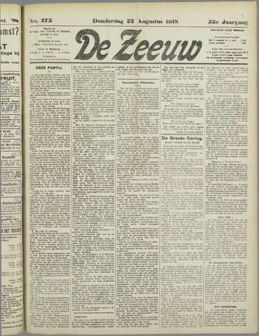 De Zeeuw. Christelijk-historisch nieuwsblad voor Zeeland 1918-08-22