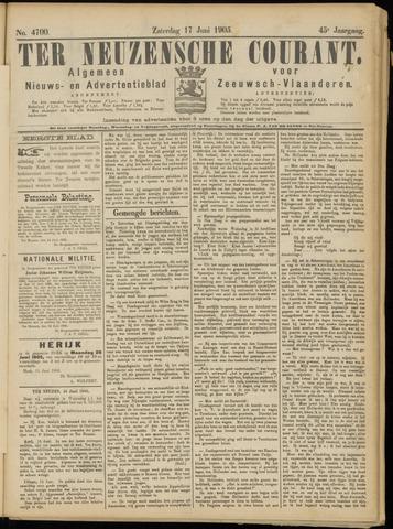 Ter Neuzensche Courant. Algemeen Nieuws- en Advertentieblad voor Zeeuwsch-Vlaanderen / Neuzensche Courant ... (idem) / (Algemeen) nieuws en advertentieblad voor Zeeuwsch-Vlaanderen 1905-06-17