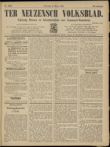 Ter Neuzensch Volksblad. Vrijzinnig nieuws- en advertentieblad voor Zeeuwsch- Vlaanderen / Zeeuwsch Nieuwsblad. Nieuws- en advertentieblad voor Zeeland 1912-03-16