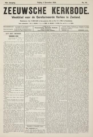 Zeeuwsche kerkbode, weekblad gewijd aan de belangen der gereformeerde kerken/ Zeeuwsch kerkblad 1926-12-03