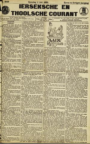 Ierseksche en Thoolsche Courant 1922-07-01