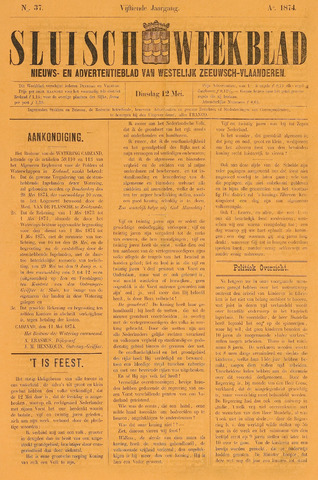Sluisch Weekblad. Nieuws- en advertentieblad voor Westelijk Zeeuwsch-Vlaanderen 1874-05-12