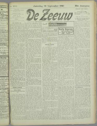 De Zeeuw. Christelijk-historisch nieuwsblad voor Zeeland 1921-09-10