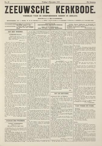 Zeeuwsche kerkbode, weekblad gewijd aan de belangen der gereformeerde kerken/ Zeeuwsch kerkblad 1935-11-08