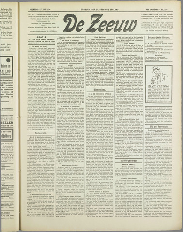 De Zeeuw. Christelijk-historisch nieuwsblad voor Zeeland 1934-06-27
