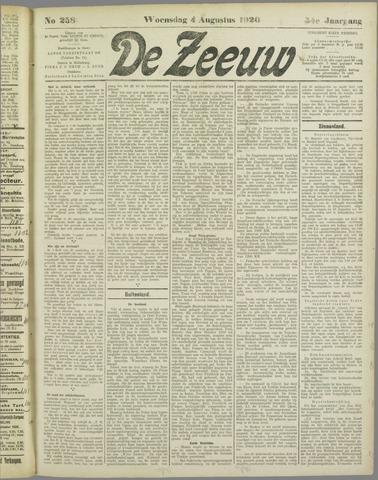De Zeeuw. Christelijk-historisch nieuwsblad voor Zeeland 1920-08-04