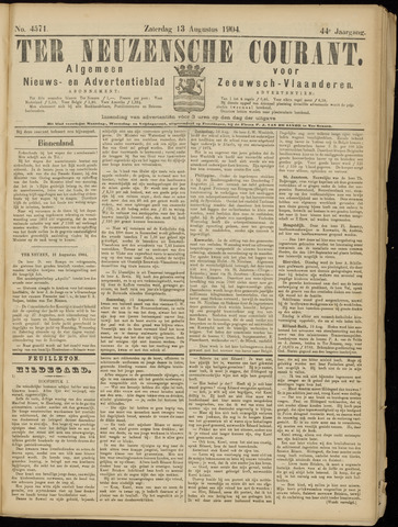 Ter Neuzensche Courant. Algemeen Nieuws- en Advertentieblad voor Zeeuwsch-Vlaanderen / Neuzensche Courant ... (idem) / (Algemeen) nieuws en advertentieblad voor Zeeuwsch-Vlaanderen 1904-08-13