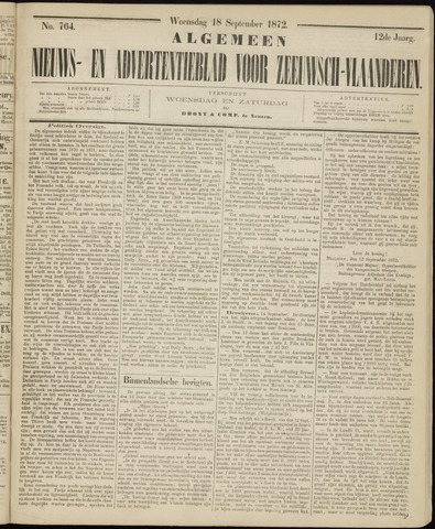Ter Neuzensche Courant. Algemeen Nieuws- en Advertentieblad voor Zeeuwsch-Vlaanderen / Neuzensche Courant ... (idem) / (Algemeen) nieuws en advertentieblad voor Zeeuwsch-Vlaanderen 1872-09-18
