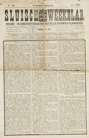 Sluisch Weekblad. Nieuws- en advertentieblad voor Westelijk Zeeuwsch-Vlaanderen 1879