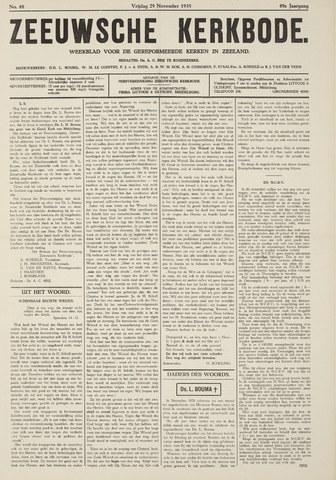 Zeeuwsche kerkbode, weekblad gewijd aan de belangen der gereformeerde kerken/ Zeeuwsch kerkblad 1935-11-29