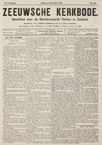 Zeeuwsche kerkbode, weekblad gewijd aan de belangen der gereformeerde kerken/ Zeeuwsch kerkblad 1923-11-16