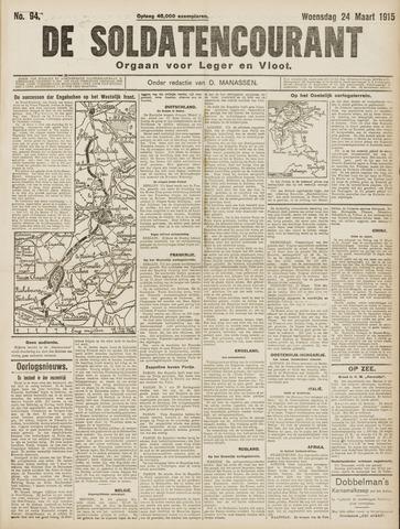 De Soldatencourant. Orgaan voor Leger en Vloot 1915-03-24