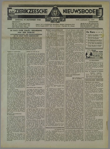 Zierikzeesche Nieuwsbode 1940-11-19