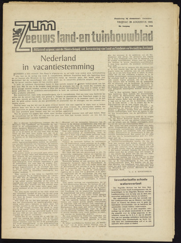 Zeeuwsch landbouwblad ... ZLM land- en tuinbouwblad 1965-08-20