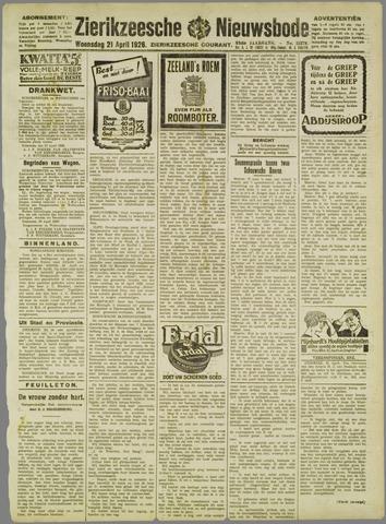 Zierikzeesche Nieuwsbode 1926-04-21