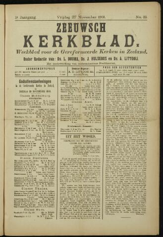 Zeeuwsche kerkbode, weekblad gewijd aan de belangen der gereformeerde kerken/ Zeeuwsch kerkblad 1903-11-27