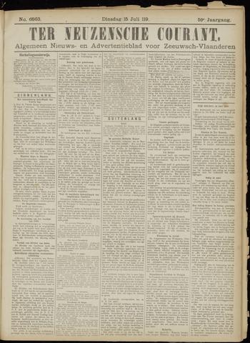 Ter Neuzensche Courant. Algemeen Nieuws- en Advertentieblad voor Zeeuwsch-Vlaanderen / Neuzensche Courant ... (idem) / (Algemeen) nieuws en advertentieblad voor Zeeuwsch-Vlaanderen 1919-07-15