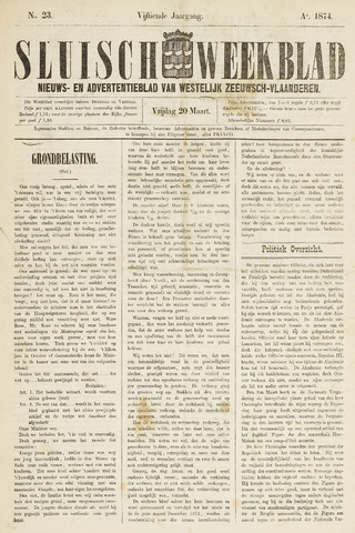 Sluisch Weekblad. Nieuws- en advertentieblad voor Westelijk Zeeuwsch-Vlaanderen 1874-03-20