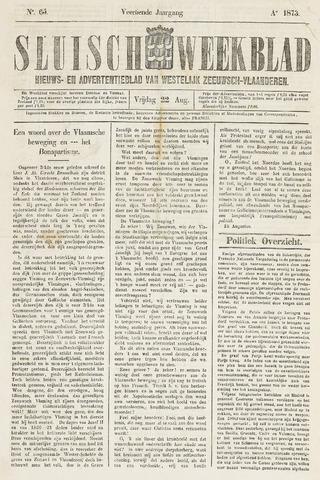 Sluisch Weekblad. Nieuws- en advertentieblad voor Westelijk Zeeuwsch-Vlaanderen 1873-08-22